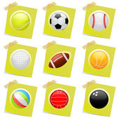 Sport ball on the post it — Stock Vector