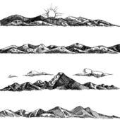 Mountain set illustration — Stock Vector