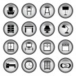 Stock Vector: Furniture buttons
