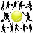 Stock Vector: Tennis players