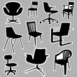 Chair icons — Stock Vector