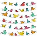 鳥と装飾的なパターン — ストックベクタ