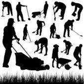 Silhueta de jardineiro — Vetorial Stock