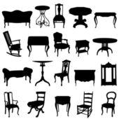 Antique furnitures set — Stock Vector