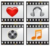 Film with symbols — Vector de stock