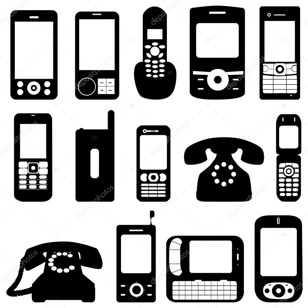 Phone silhouette set — Stock Vector #7406371