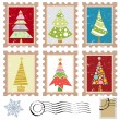 Set of stamps with tree design — Stock Vector #7514083