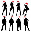 Peoples with christmas hat — Stock Vector #7514161