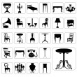 Stock Vector: Big set of antique furniture