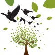 Birds and tree vector — Stockvectorbeeld