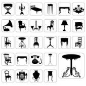 Big set of antique furniture — Stock Vector