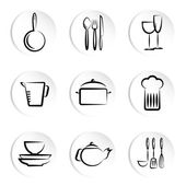 Kitchen object icons — Stock Vector
