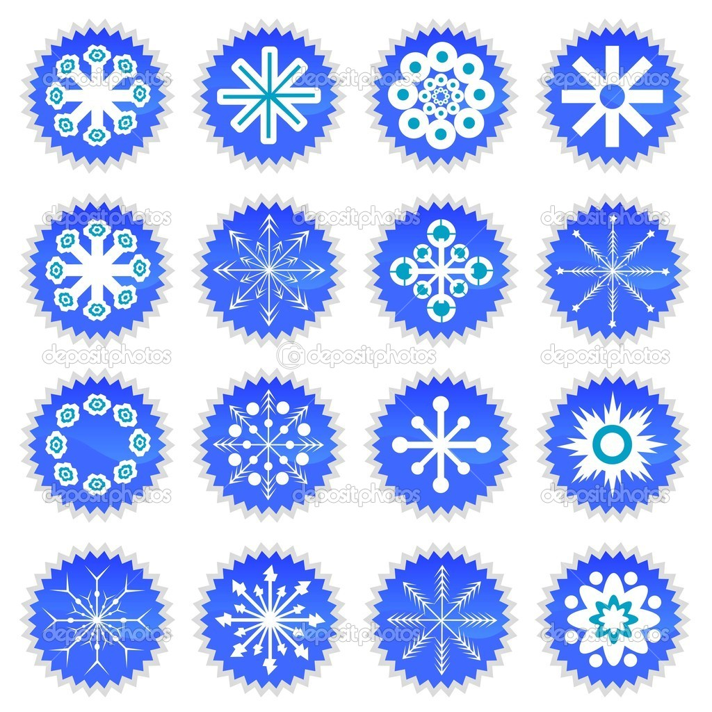 Snowflake icons set  Stock Vector #7514176