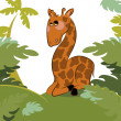 Giraffe in the jungle — Stock Vector