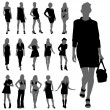 Fashion woman silhouettes — Image vectorielle
