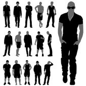 Fashion man silhouettes — Stock Vector