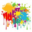 Color paint splashes - Stok Vektör