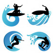 Surfing symbols — Stock Vector