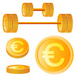 Dumbbell of golden discs with euro — Stock Vector #7721447