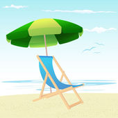 Beach chairs and umbrella — Stock Vector