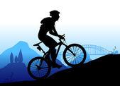Mountain biking — Stock Vector