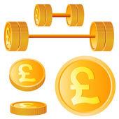 Manubrio di dischi d'oro con la sterlina — Vettoriale Stock