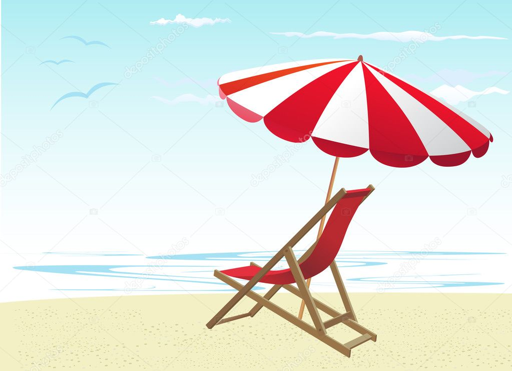 Желтый зонтик, шезлонг, море  № 1938226 бесплатно