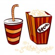 Popcorn and coke cup — Stock Vector