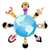 Cartoon kids around the world — Stock Vector