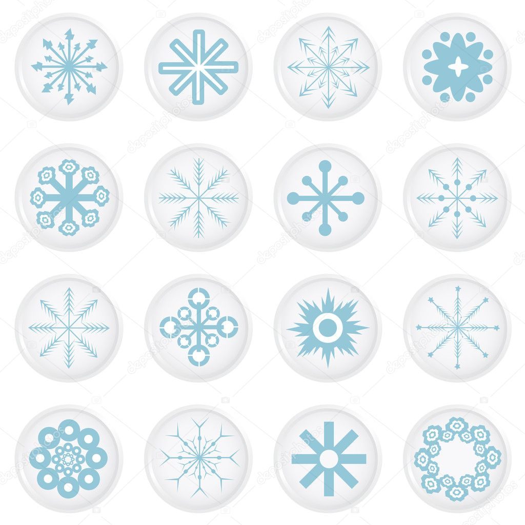 Snowflake icons vector — Stock Vector #7850694