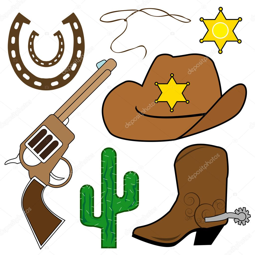Cowboy design elements set — Stock Vector #7850883