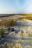 Sport alone in the sand — Foto de Stock
