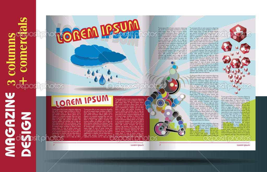 MAGAZINE LAYOUT FOR KIDS DESIGN TEMPLATE — Stock Vector
