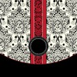 Vector de stock : Red and black damask card