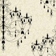 Royalty-Free Stock Vektorfiler: Invitation card with luxury chandelier on floral background
