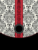 Red and black damask card — Vettoriale Stock