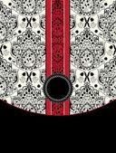 Tarjeta de damasco roja y negra — Vector de stock