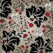 Stock vektor: Floral seamless pattern with red and black elements