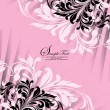 Pink invitation card with floral elements — Imagen vectorial
