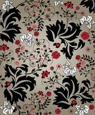 Floral seamless pattern with red and black elements — Stok Vektör