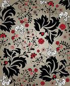 赤と黒の要素を持つシームレスな花柄 — ストックベクタ