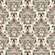 Floral seamless pattern with red and black elements — Vektorgrafik