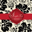 INVITATION CARD ON FLORAL BACKGROUND — Imagen vectorial