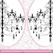 Invitation Card Design With Chandelier On Pink Background - Imagen vectorial