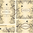SET OF FOUR INVITATION CARD WITH FLORAL ELEMENTS - Imagen vectorial