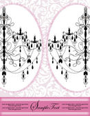 Invitation Card Design With Chandelier On Pink Background — Cтоковый вектор