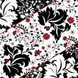 Floral seamless pattern with red and black elements — Imagen vectorial