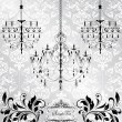 Luxury chandelier on floral background - Imagen vectorial