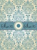 Винтаж голубой дамасской пригласительный билет — Cтоковый вектор