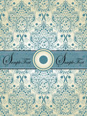 Vintage blue damask invitation card — Stock Vector